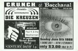 1988-06-05 Bacchanal, Philadelphia, PA