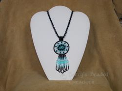 Bead Embroidered Turquoise Nugget