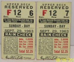 Stan Musial Last Game Ever Ticket, September 29, 1963 Retirement Game