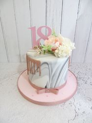18th Birthday marble effect drip cake