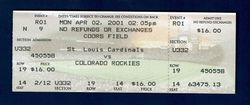 Albert Pujols DEBUT First Game Full Ticket 4/2/2001 Cardinals versus Rockies 1st Hit