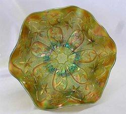 "Little Stars 7"" ruffled bowl - green, satin"