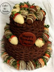 Basket Weave Cake with dipped Strawberri es