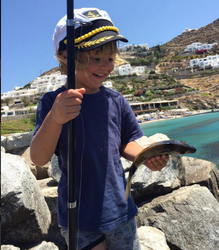 Such a Happiness! ALessandra's Ambrosio son, just caught a fish!