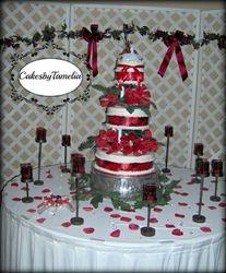 red and white round wedding cake