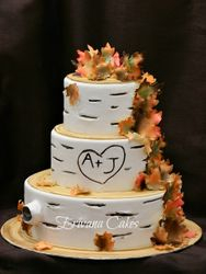 Birch Wood/Fall Themed Wedding Cake 2