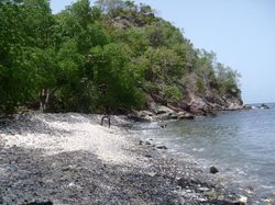 The beach we walked to at the point near Tyrrel Bay