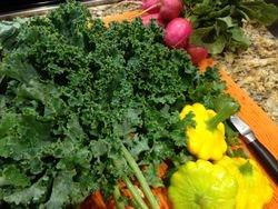 Kale, Pattipan Squash, Radishes