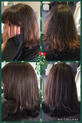Before and After dark chocolate and caramel highlights
