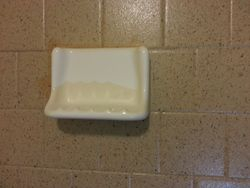 After-Close Up of Existing Soap Dish Against Multi-Stone Finish