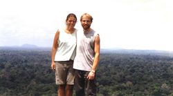 "Noëlle Gunst and JB Leca taking a break from ""capuchin monkey research"" on top of the Voltzberg, Central Suriname Nature Reserve (September 2001)"