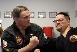 Hanshi Muncy and Sensei Morales (photo by Rampage)