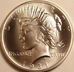 1931-S Peace Dollar, obverse