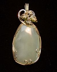 Pillow Jade  in 14kgf with glass bead accents