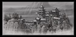 Asian temple, Snow and the Seven