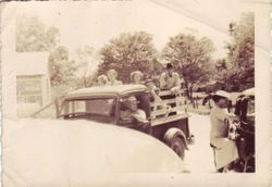 Doc and Adaline Clayton Coming Home from Church with a Truckload of Passengers - 1938