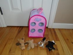 "Unipak 12"" Plush Pink Dog House with 4 Stuffed Animals - $20"