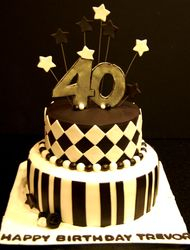 Black and white themed 40th bday cake