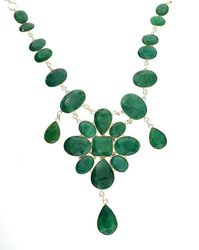 Mixed Cut Green Beryl and Sterling Silver Necklace