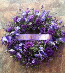 Mixed Purple Flowers Wreath
