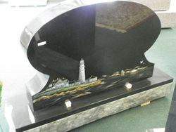 Black Oval w/Etched Color Lighthouse Scene