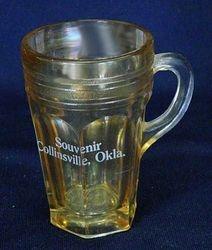 Banded Dots & Prisms mug, pale marigold, souvenir of Collinsville,Okla
