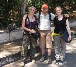 "Gwennan Giraud, JB Leca, and Fany Brotcorne during a BBC filming of the ""robbing/bartering"" project in June 2015 (Uluwatu, Bali)"