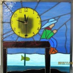 Little Boy Fishing Clock