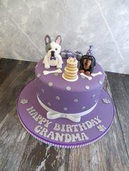 French bulldog and sausage dog cake