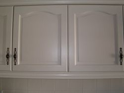 Kitchen units painted in Ivory Lace colour.
