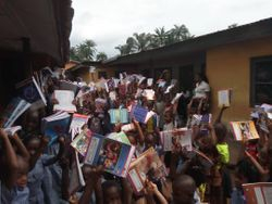 Celebrating the donations of books from the UK