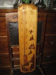 Didelis vintazinis medinis termometras. Kaina 32