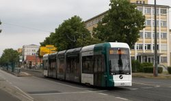 """Variotram no. 425 """"Sioux Falls"""", on Berliner Straße ."""