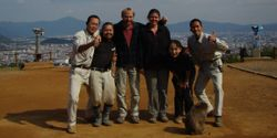 JB Leca and Noëlle Gunst during the stone handling data collection on Japanese macaques (Arashiyama-Kyoto, Japan, October 2008) with the local staff (from left to right: Shukei Kobatake, Jun Hashiguchi, Yaeko Sugano, and Shinya Tamada)