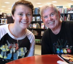 Savanna and G'pa Gary, Barnes & Noble, Minnetonka, MN 7/22/14 before the camera club meeting.