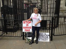 Stop UK Marriage Fraud Demonstrating outside Downing Street.