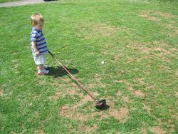 Parker playing golf
