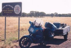 Tom's K75RT & Camper Trailer at the southern end of the Matilda Highway on the way to the 1998 AGM Bunbury - Mar 1998