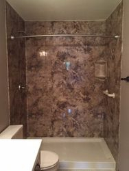 After: Shower in 8X10 Madeira Granite