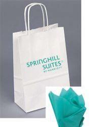 Gift Bags with Rope Handle - Reflective Teal foil-stamped SpringHill Suites logo that catches everyone's eye! - INCLUDES Teal tissue paper with every gift bag