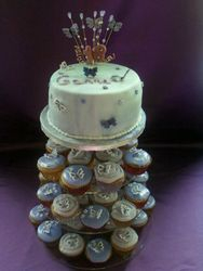 18th birthday cake with cupcakes