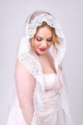 Cluny lace mantilla veil