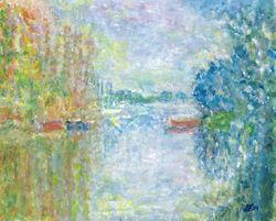Interpretation of Boats on the Seine at Argenteuil by Monet