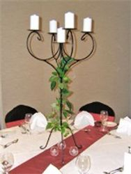 candle stands and decorations