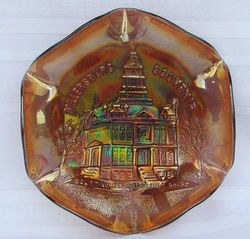 MILLERSBURG lettered ruffled Court House bowl -amethyst