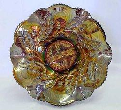 Millersburg Holly ruffled bowl - amethyst, radium