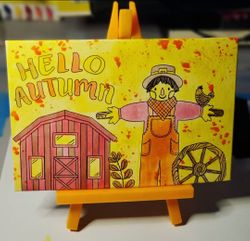 """hello Autumn"" with orange mini isle"