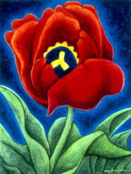 Tulip - Maid of Spring, Oil Pastel, 11x14, Original Sold