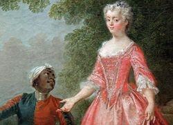 Lancret, Woman with a Servant, detail, Boston