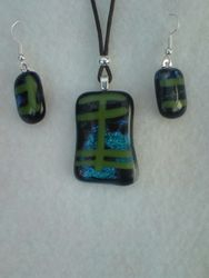 Blue/Green Pendant with Dichroic Glass